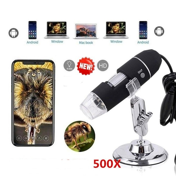 500x Digital USB Microscope 0X~500X Electronic Microscope USB 8 LED