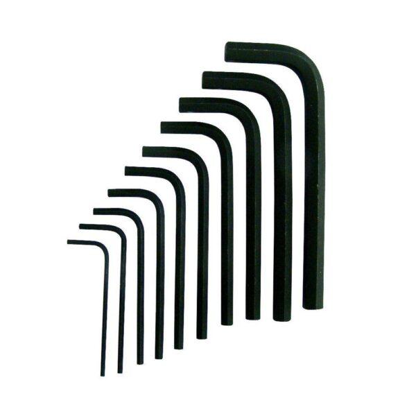 "10-Piece 1.16"" to 3/8"" Long Arm Hex Key Set"