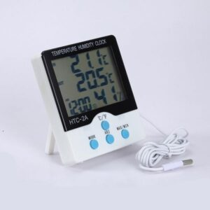 Digital LCD Indoor Outdoor Humidity Meter Thermometer Tester With Clock HTC-2A C/F Switch