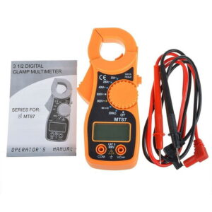 MT87 LCD Digital Clamp Set Multimeter Electronic Diagnostic Tool Voltage Tester AC/DC Transistor Meter Tool with 2 Test Cables