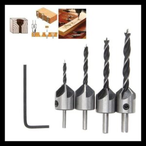4 Bh-Mata Drill Set With Countersink For Cam Pole Screw Head Wood Camper