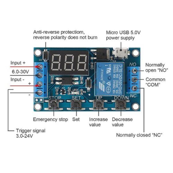 HW-521 Timer Relay 6 To 30V Adjustable Timer Delay Timer