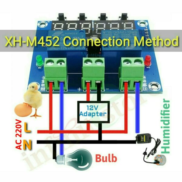Incubator Temperature Humidity Controller DC 12V XH M452 In Pakistan